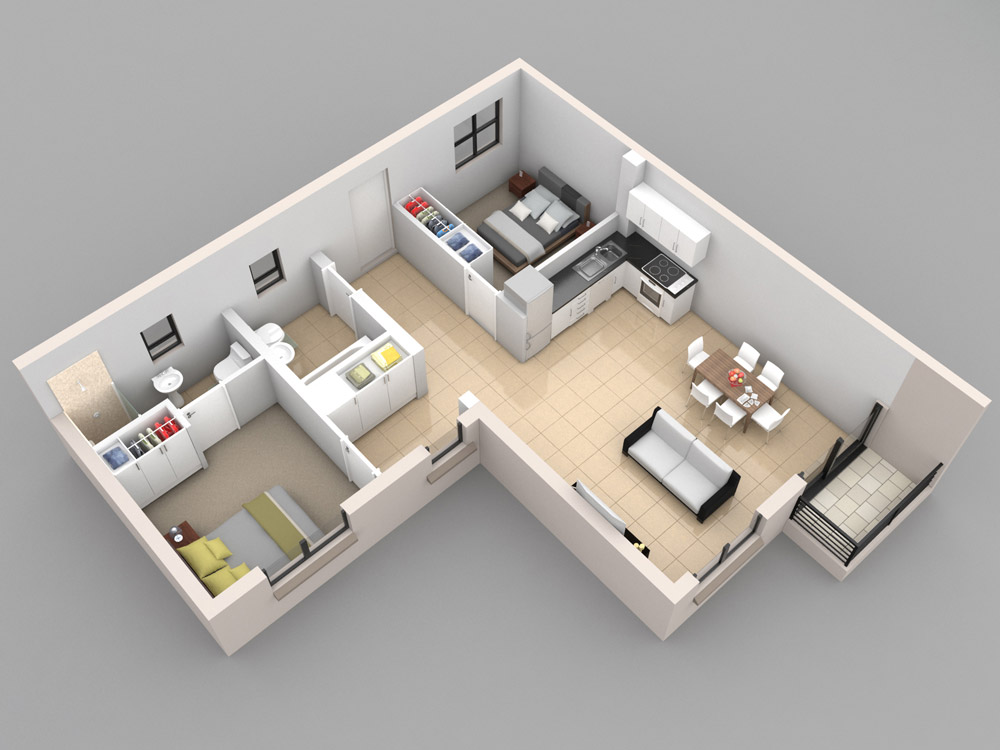 shaped 2 bedroom layout